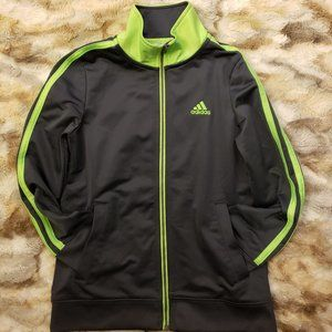 Adidas Kids' Jacket Dark Gray & Neon Green